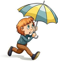 Boy with an umbrella vector image