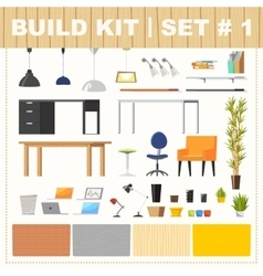 Build kit 1 office furniture vector