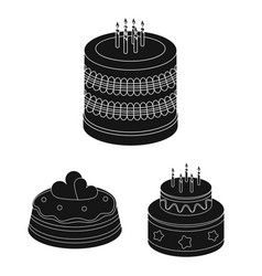 cake and dessert black icons in set collection vector image