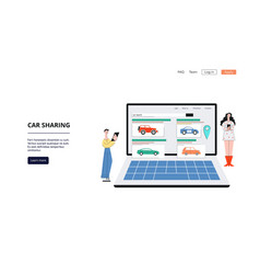 carsharing service banner - laptop with car vector image