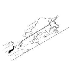 Cartoon of bull as rising market prices symbol vector