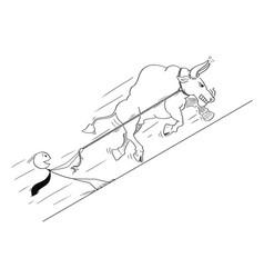 cartoon of bull as rising market prices symbol vector image