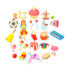 Children show icons set cartoon style vector