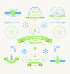 christmas vintage labels and stickers set vector image
