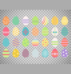 colored easter eggs on transparent background vector image