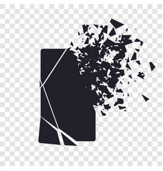 Cracked phone screen shatters into pieces broken vector