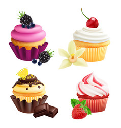 cupcakes collection realistic muffins with cream vector image