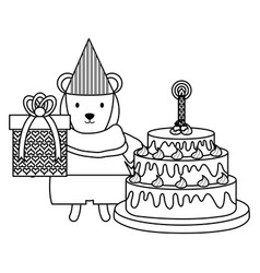 Cute polar bear with gift and cake in party vector