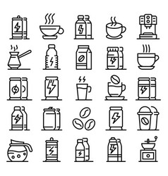 energetic drink icons set outline style vector image