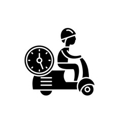 fast courier black icon sign on isolated vector image
