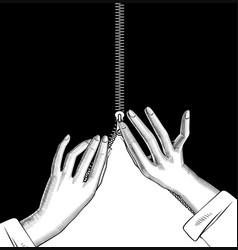 Female hands zipped slide fastener vector