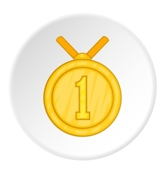 First place medal icon cartoon style vector