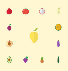 flat icons garnet mango love apple and other vector image
