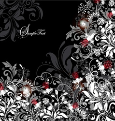 floral card with white gray and red elements vector image