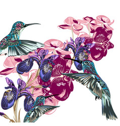 Flower pattern with hummingbirds and orchids vector