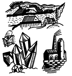 fragments of landscapes vector image