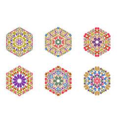 Geometrical abstract petal ornament hexagon logo vector