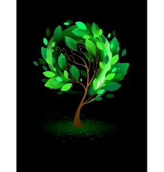 Green tree on a black background vector