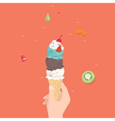 Hand holding ice cream cone vector