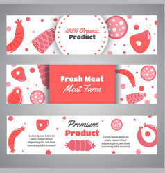 headers with meat products flat meat farm vector image