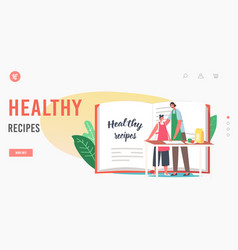 healthy recipes landing page template mother vector image