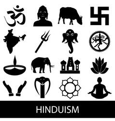 Hinduism religions symbols set icons eps10 vector