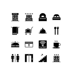 hotel icon set black solid isolated on white vector image