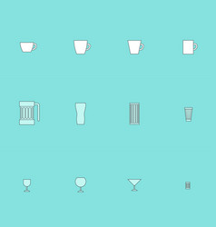 icons for drinking ware vector image