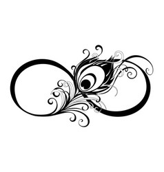 Infinity symbol with peacock feather vector