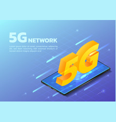 isometric web banner smartphone with 5g hi speed vector image
