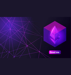 Isometry holographic geometric icon blockchain eth vector