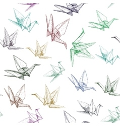 Japanese Origami paper cranes symbol of happiness vector image