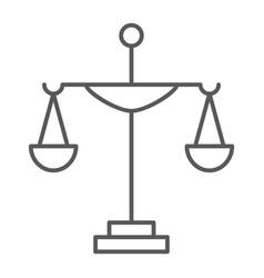 justice thin line icon court and law scale sign vector image