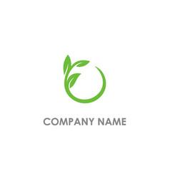 leaf round organic logo vector image