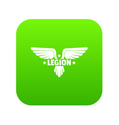 Legion wing icon green vector