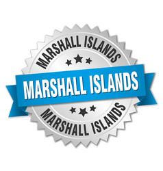 Marshall islands round silver badge vector