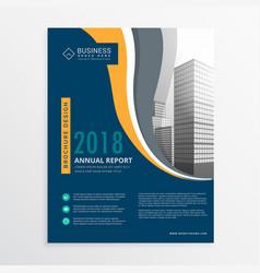 Modern blue annual report brochure flyer design vector