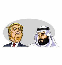 Mohammad bin salman mbs with donald trump vector