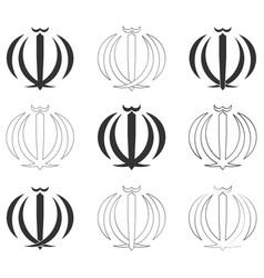 Monochrome icon set with emblem iran vector