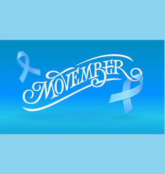 Movember typography witn flying blue ribbon vector