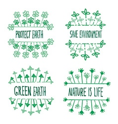 Nature ecology labels set vector