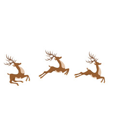 new year christmas deer in a jump vector image