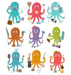 Octopus occupation cartoon vector