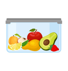 Ontainer with different fruits under a gray lid vector