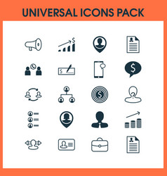Resources icons set with catalogue of employees vector