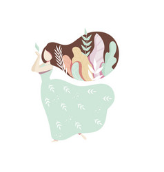 Romantic girl with leaves in her hair faceless vector