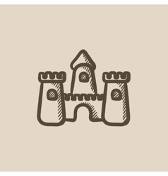 Sandcastle sketch icon vector