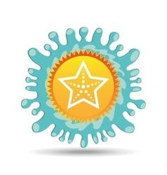 sea starfish summer vacation sun splashes label vector image