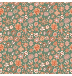 Seamless floral pattern different painted flowers vector image