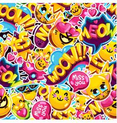 seamless pattern emoji cat vector image